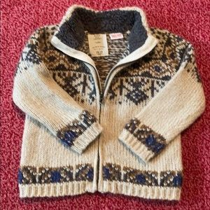 12-18mo ZARA wool blend zip up sweater